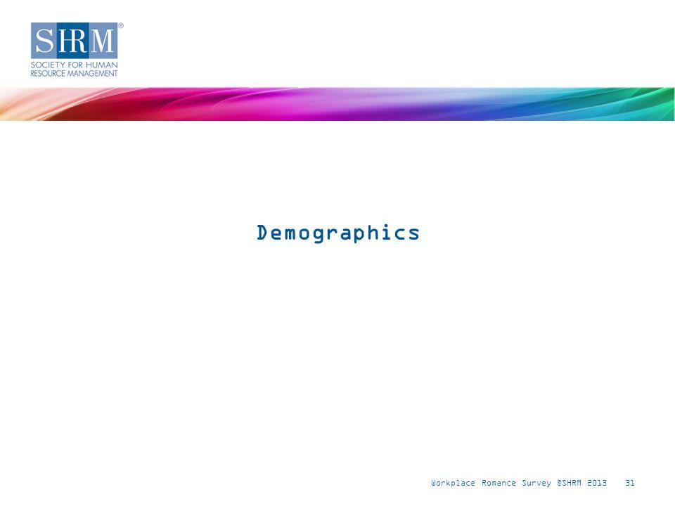 Workplace Romance Survey ©SHRM 201331 Demographics
