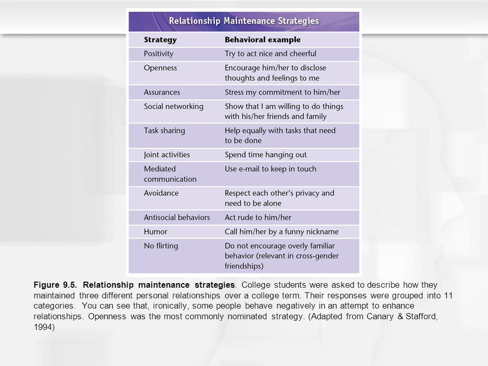 Figure 9.5. Relationship maintenance strategies. College students were asked to describe how they maintained three different personal relationships ov
