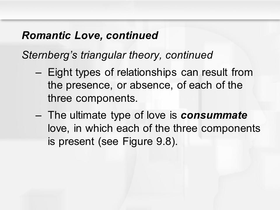 Romantic Love, continued Sternbergs triangular theory, continued –Eight types of relationships can result from the presence, or absence, of each of th