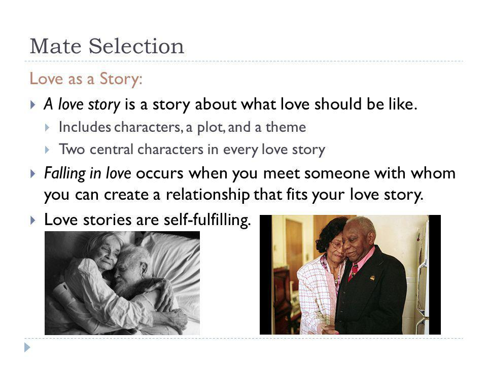 Mate Selection Love as a Story: A love story is a story about what love should be like. Includes characters, a plot, and a theme Two central character