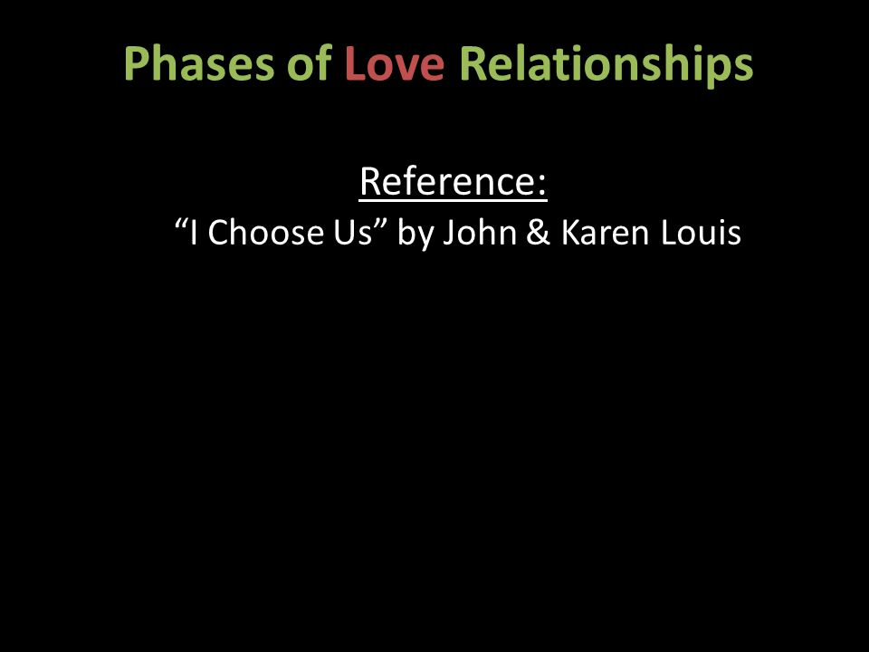 Phases of Love Relationships Reference: I Choose Us by John & Karen Louis