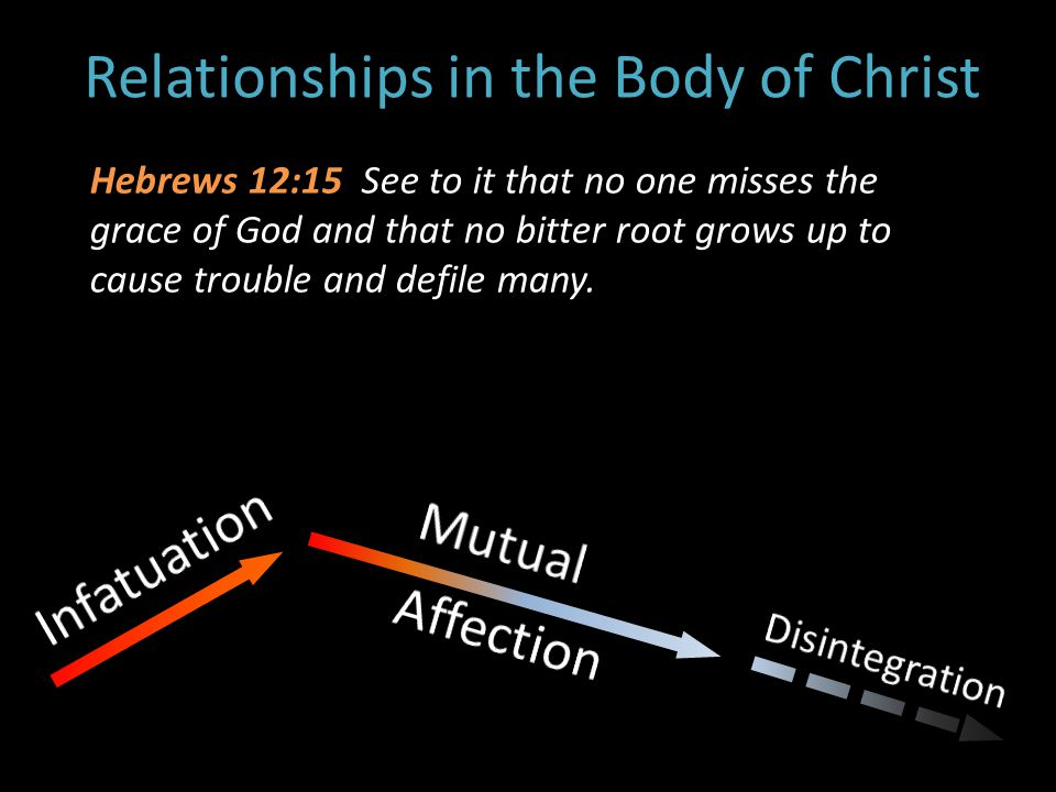 Relationships in the Body of Christ Hebrews 12:15 See to it that no one misses the grace of God and that no bitter root grows up to cause trouble and defile many.