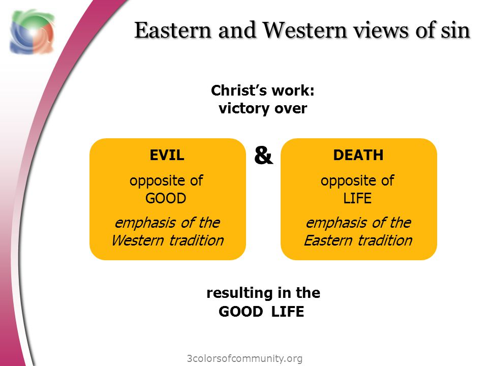 Eastern and Western views of sin 3colorsofcommunity.org EVIL opposite of GOOD emphasis of the Western tradition DEATH opposite of LIFE emphasis of the Eastern tradition & Christs work: victory over resulting in the GOODLIFE