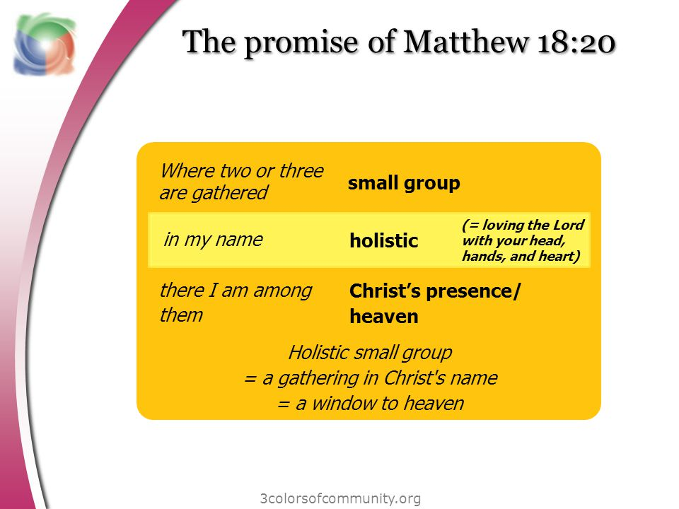 3colorsofcommunity.org The promise of Matthew 18:20 Where two or three are gathered in my name there I am among them small group holistic Christs presence/ heaven (= loving the Lord with your head, hands, and heart) Holistic small group = a gathering in Christ s name = a window to heaven