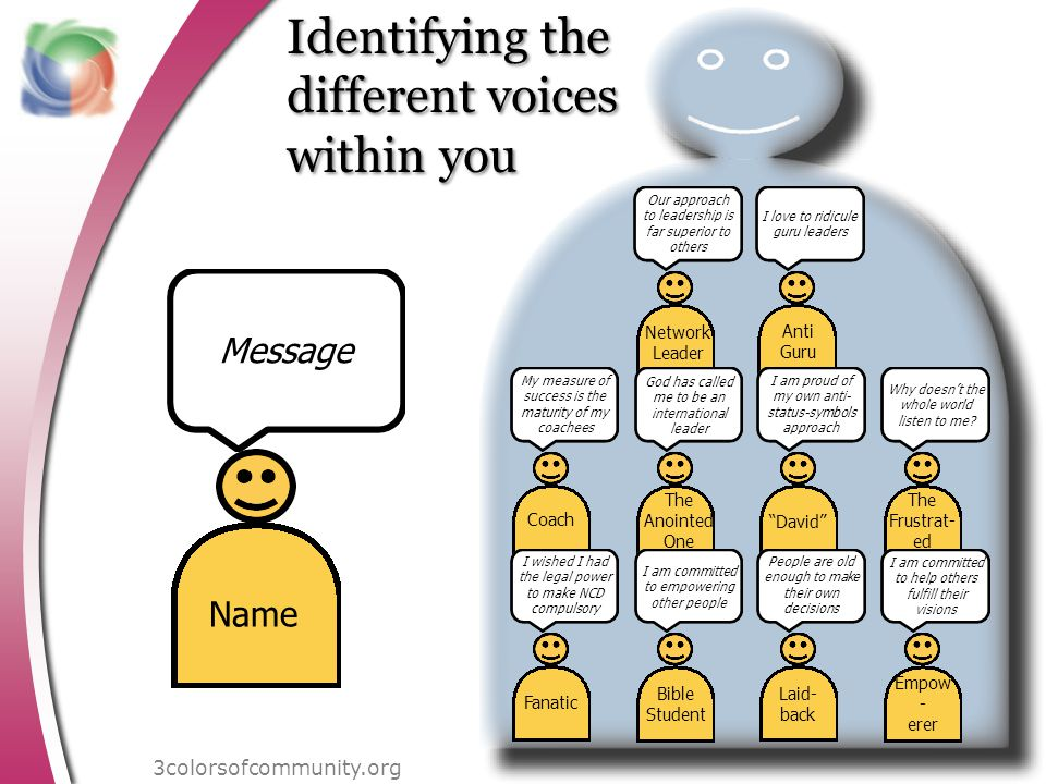 Identifying the different voices within you I love to ridicule guru leaders Anti Guru Our approach to leadership is far superior to others Network Leader God has called me to be an international leader The Anointed One My measure of success is the maturity of my coachees Coach Why doesnt the whole world listen to me.