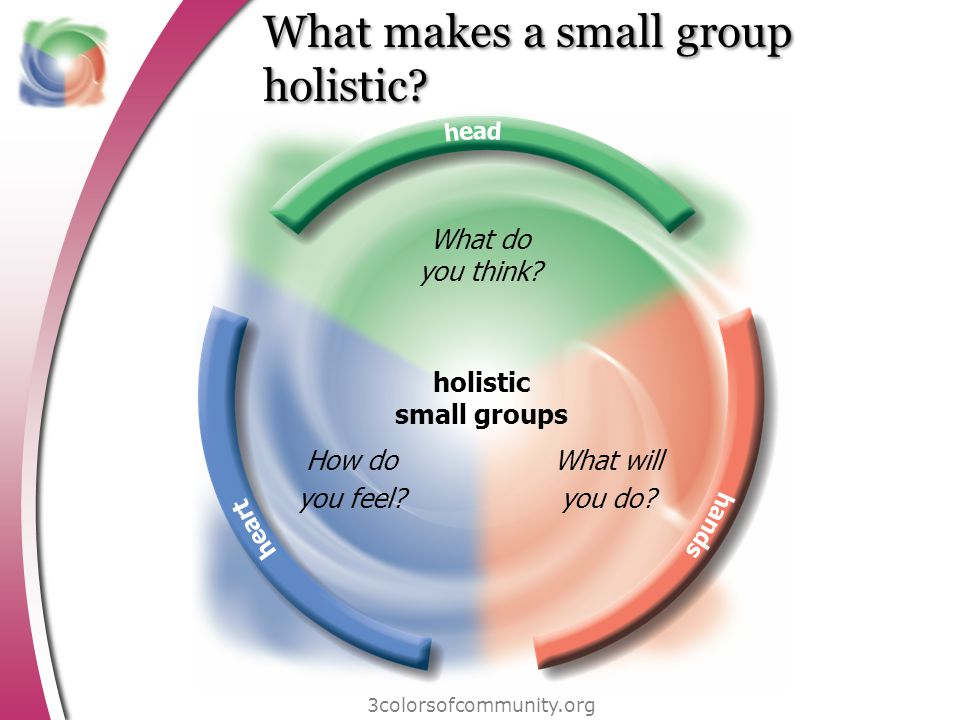 What makes a small group holistic? 3colorsofcommunity.org holistic small groups What do you think? How do you feel? What will you do?