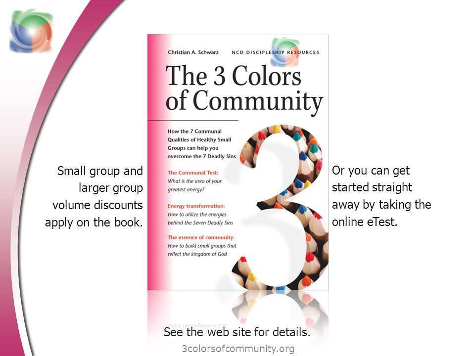 Small group and larger group volume discounts apply on the book. 3colorsofcommunity.org Or you can get started straight away by taking the online eTes