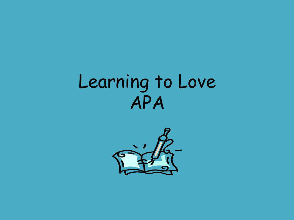 Learning to Love APA