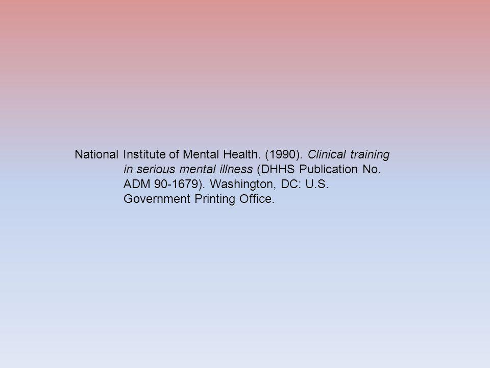 National Institute of Mental Health. (1990).