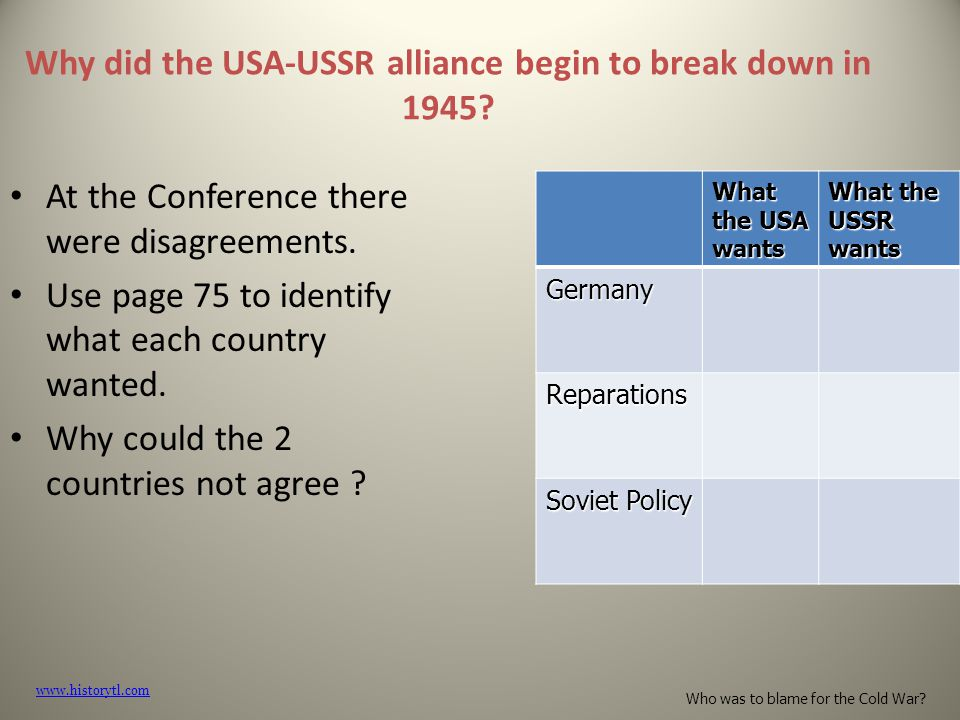 Why did the USA-USSR alliance begin to break down in 1945.