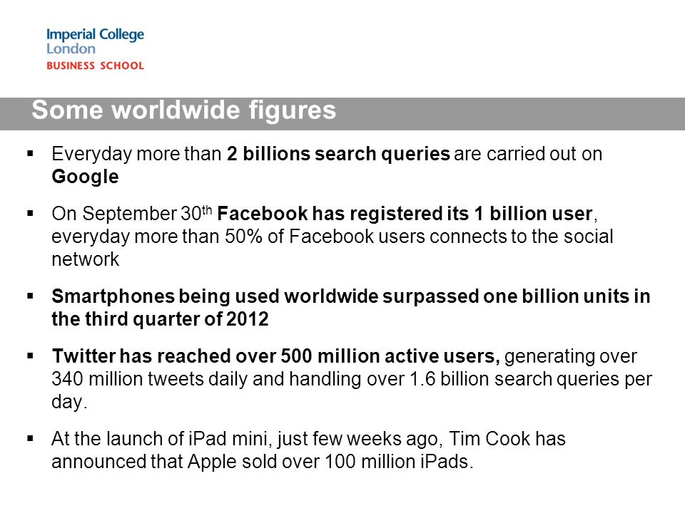 Everyday more than 2 billions search queries are carried out on Google On September 30 th Facebook has registered its 1 billion user, everyday more th