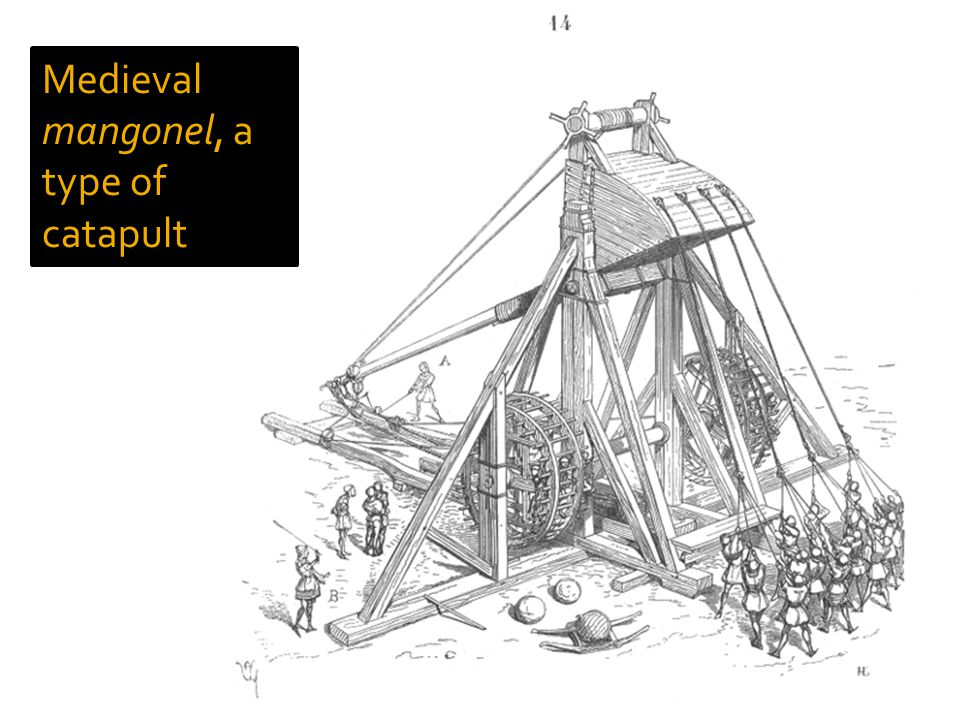 Medieval mangonel, a type of catapult