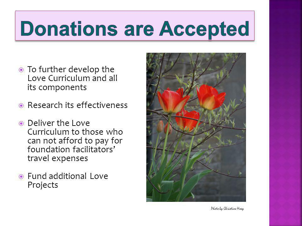 To further develop the Love Curriculum and all its components Research its effectiveness Deliver the Love Curriculum to those who can not afford to pay for foundation facilitators travel expenses Fund additional Love Projects Photo by Christine Hoey