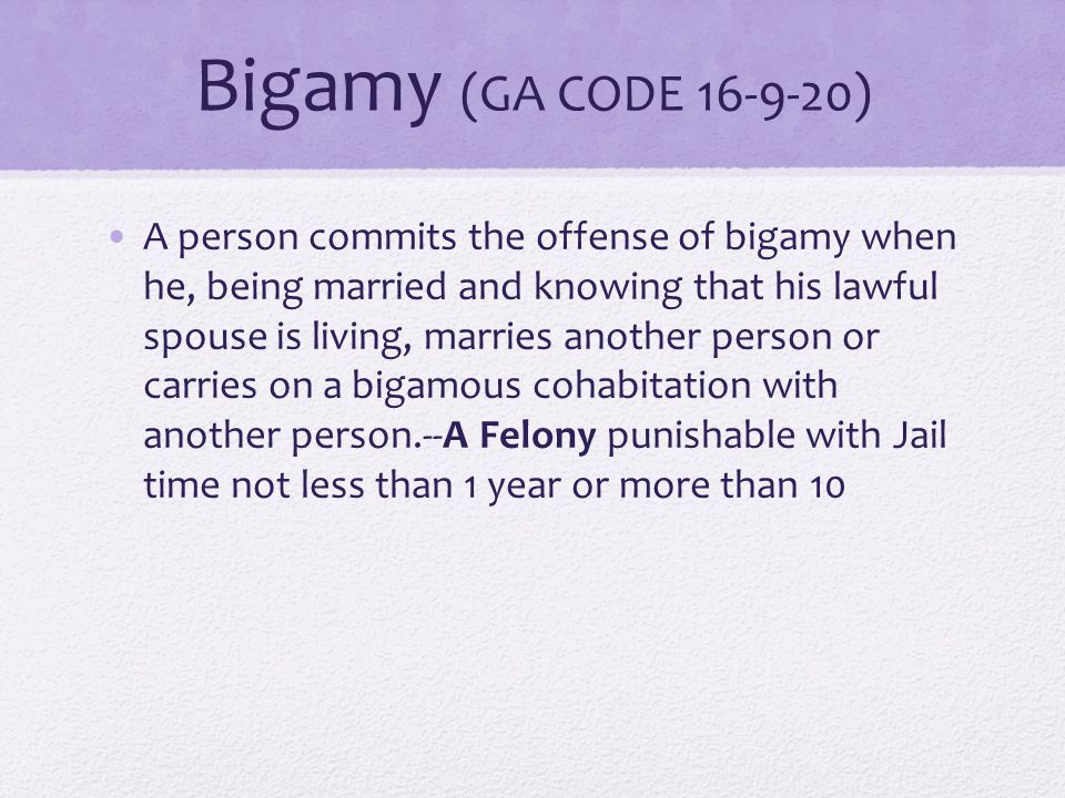 Adultery (GA CODE 16-9-19) A married person commits the offense of adultery when he voluntarily has sexual intercourse with a person other than his spouse and, upon conviction thereof, shall be punished as for a misdemeanor.