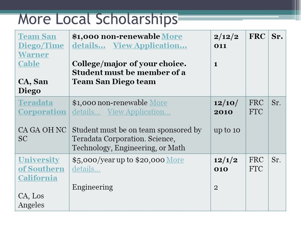 More Local Scholarships Team San Diego/Time Warner Cable CA, San Diego $1,000 non-renewable More details...
