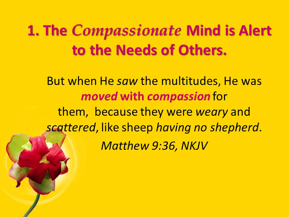1. The Compassionate Mind is Alert to the Needs of Others.