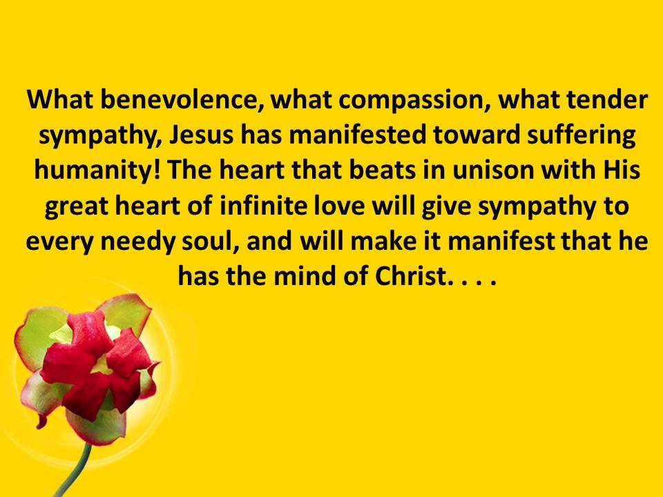 What benevolence, what compassion, what tender sympathy, Jesus has manifested toward suffering humanity.