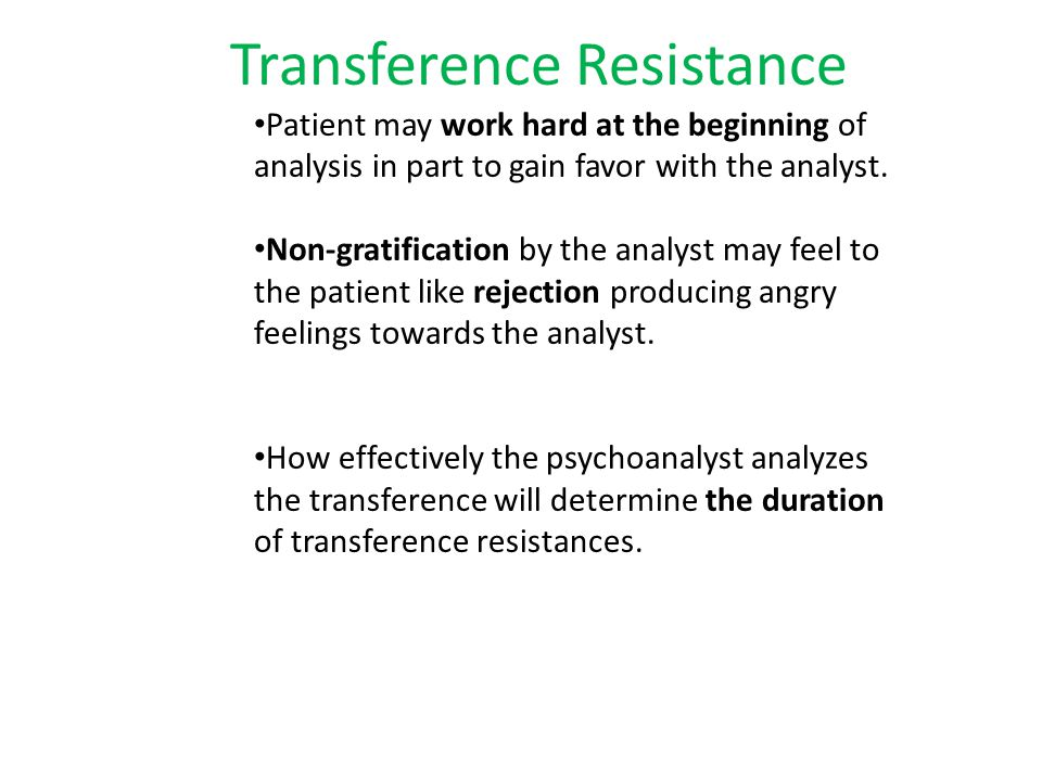 Transference & The Analytic Situation Contributing technical factors in the analytic situation that encourage maximal development of transference: Lying on the couch.
