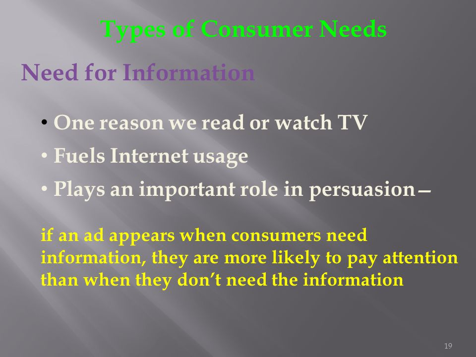 19 Types of Consumer Needs Need for Information One reason we read or watch TV Fuels Internet usage Plays an important role in persuasion if an ad app