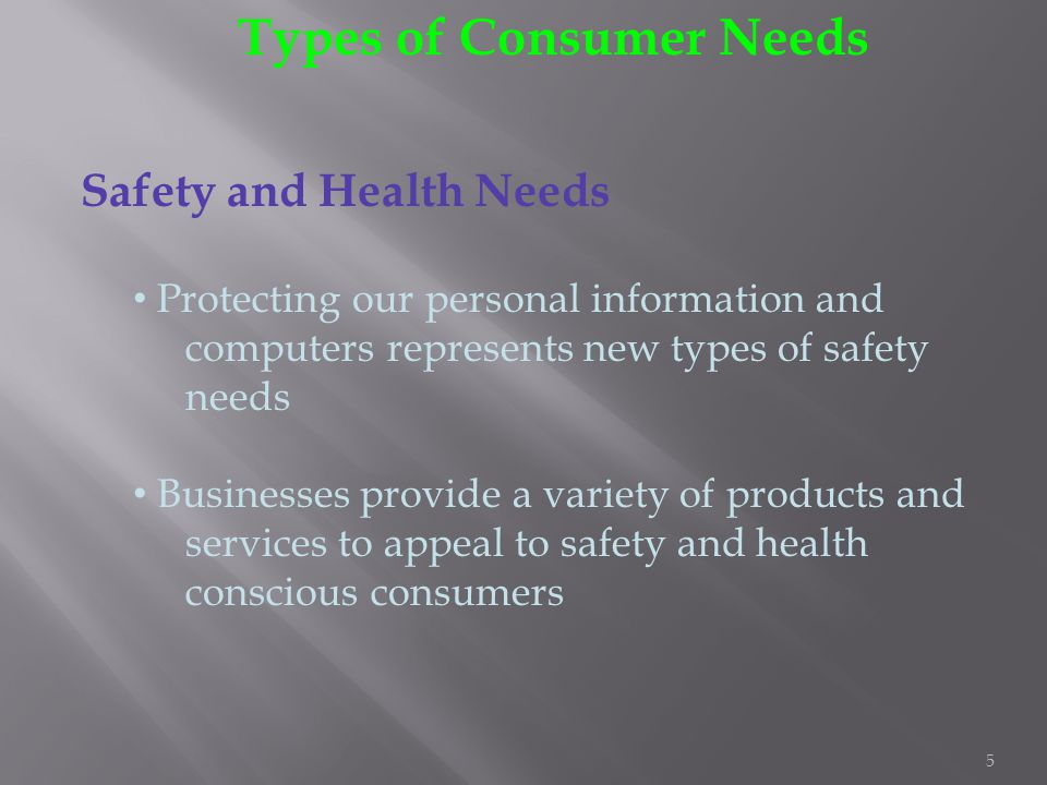 5 Types of Consumer Needs Safety and Health Needs Protecting our personal information and computers represents new types of safety needs Businesses pr