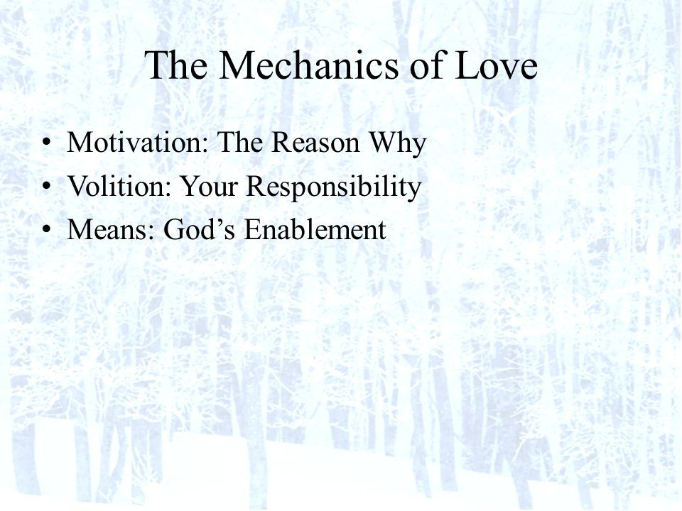 The Mechanics of Love Motivation: The Reason Why Volition: Your Responsibility Means: Gods Enablement