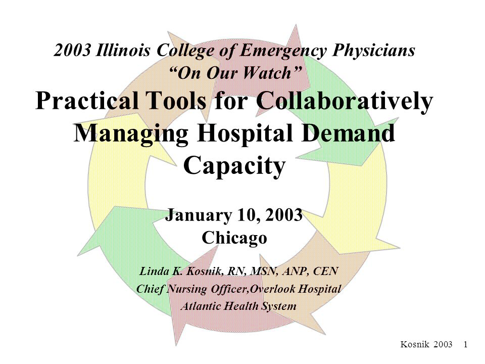 Kosnik 2003 1 2003 Illinois College of Emergency Physicians On Our Watch Practical Tools for Collaboratively Managing Hospital Demand Capacity January 10, 2003 Chicago Linda K.