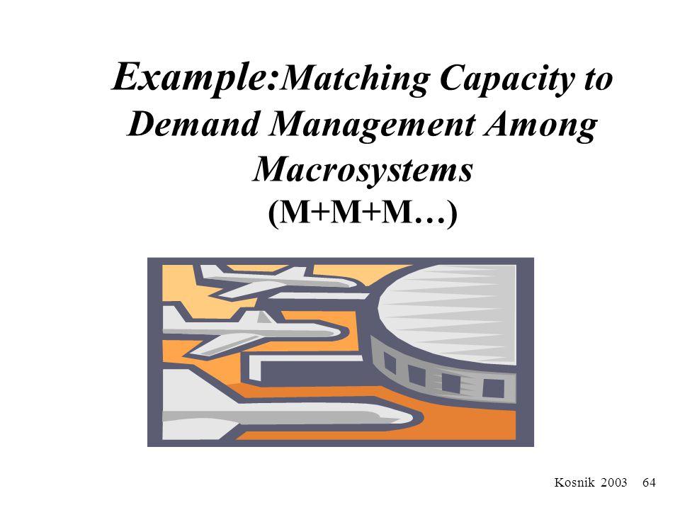 Kosnik 2003 63 Stage Five: Like Macrosystems (M+M+M…) Demand Capacity Management Idealized Design for Falls Management Service Lines M M M M