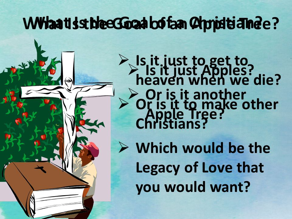What Is the Goal of a Christian? Is it just Apples? Or is it another Apple Tree? What Is the Goal of an Apple Tree? Is it just to get to heaven when w