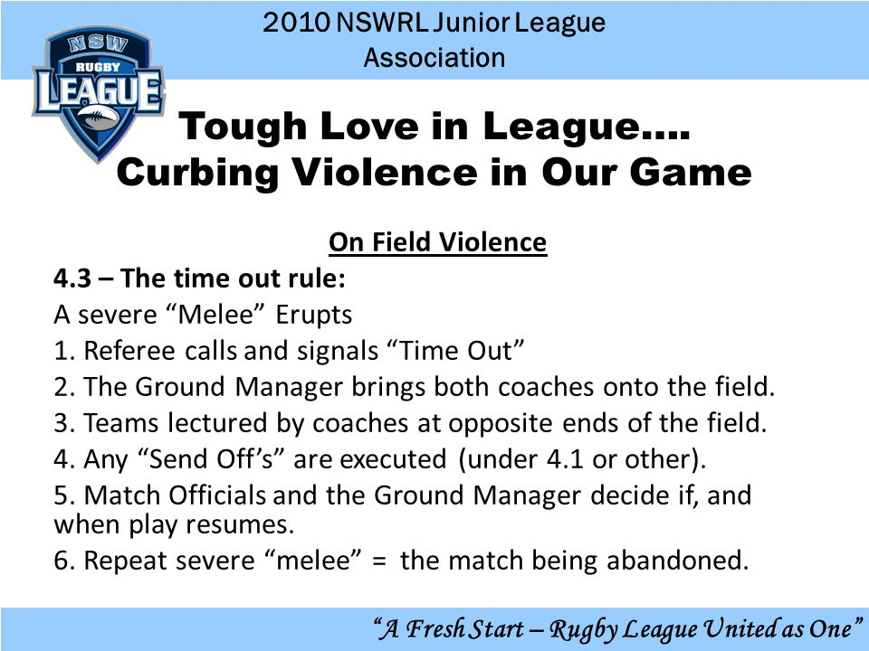 2010 NSWRL Junior League Association A Fresh Start – Rugby League United as One Tough Love in League….