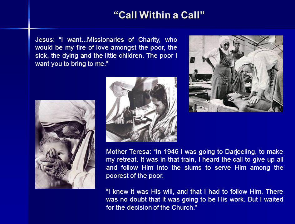Call Within a Call In December 1948, alone, Mother Teresa started her work in the slums, visiting the sick, gathering and instructing street children, and gradually opening her first slum school and dispensary in the Motijhil slums.