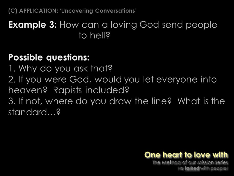 Example 3: How can a loving God send people to hell.