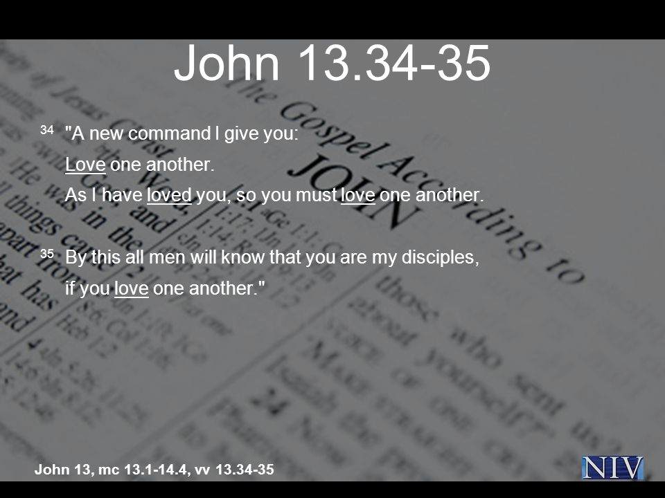 John A new command I give you: Love one another.