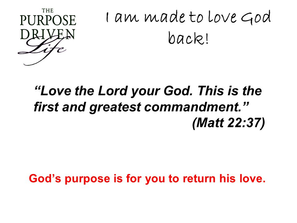 I am made to love God back! Love the Lord your God. This is the first and greatest commandment. (Matt 22:37) God s purpose is for you to return his lo