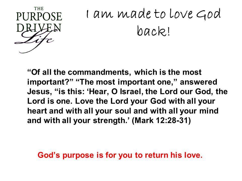 I am made to love God back! Of all the commandments, which is the most important? The most important one, answered Jesus, is this: Hear, O Israel, the