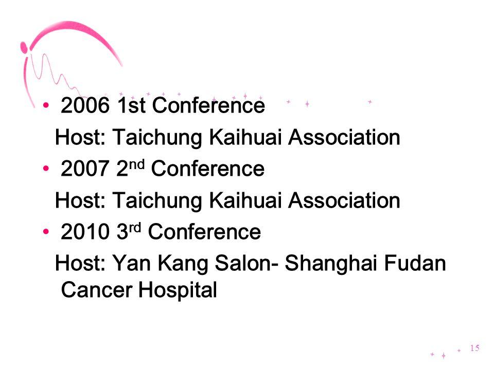 2006 1st Conference Host: Taichung Kaihuai Association 2007 2 nd Conference Host: Taichung Kaihuai Association 2010 3 rd Conference Host: Yan Kang Sal