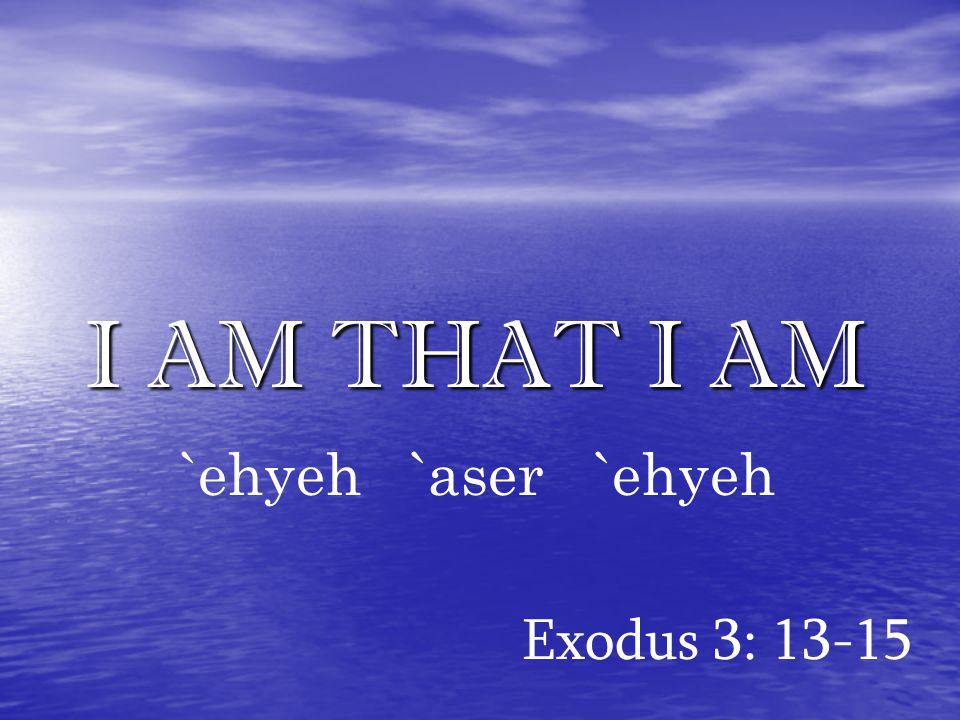 I AM THAT I AM Exodus 3: 13-15 `ehyeh `aser `ehyeh