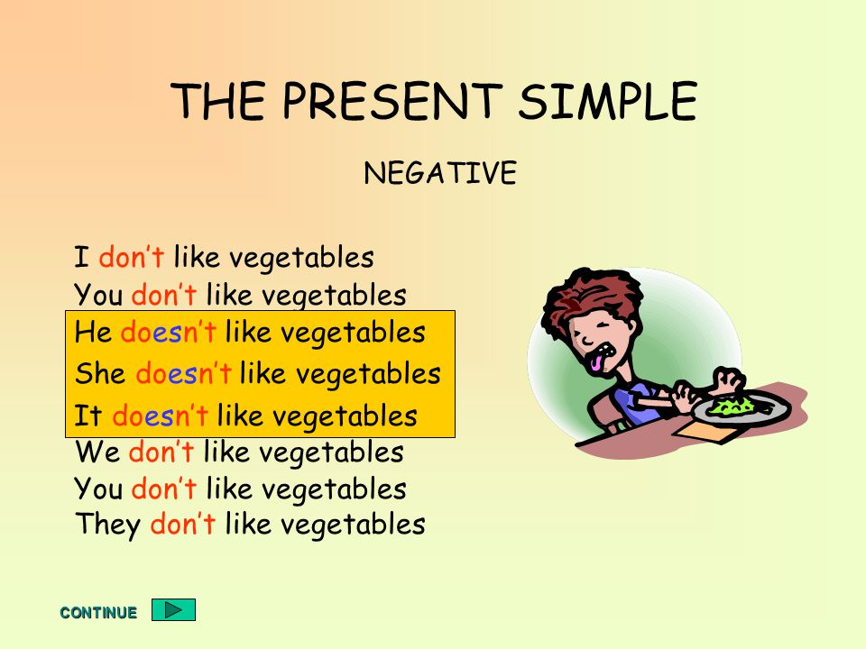 THE PRESENT SIMPLE I dont like vegetables You dont like vegetables He doesnt like vegetables She doesnt like vegetables It doesnt like vegetables We dont like vegetables You dont like vegetables They dont like vegetables NEGATIVE He doesnt like vegetables She doesnt like vegetables It doesnt like vegetables CONTINUE