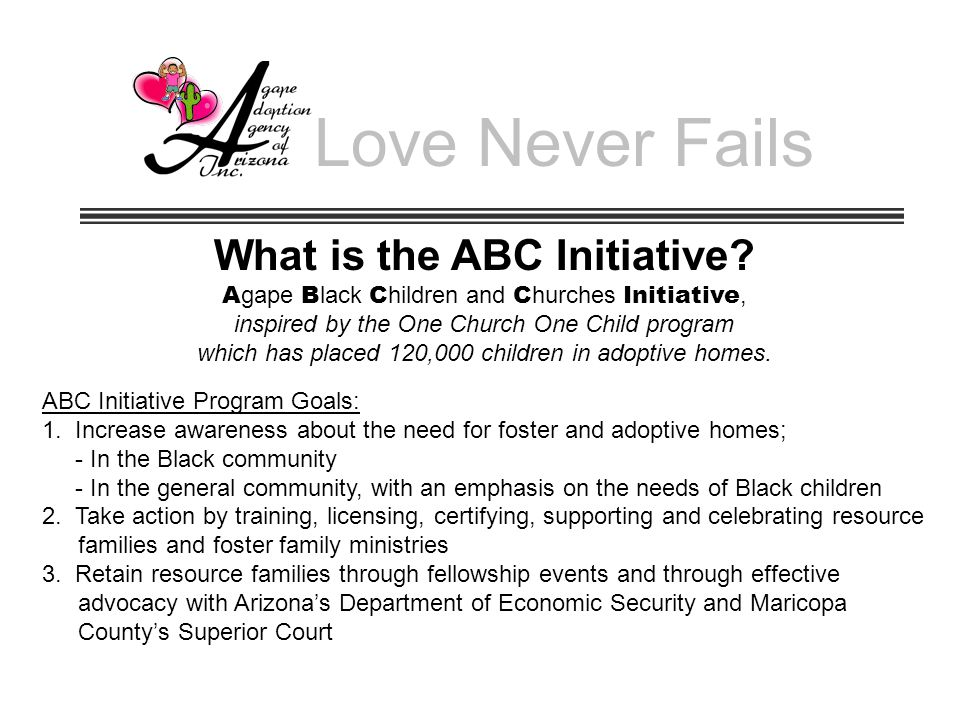 Love Never Fails What is the ABC Initiative.