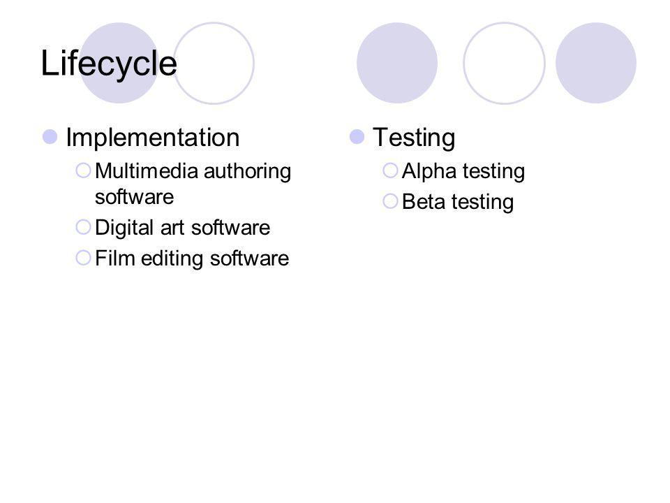 Lifecycle Implementation Multimedia authoring software Digital art software Film editing software Testing Alpha testing Beta testing