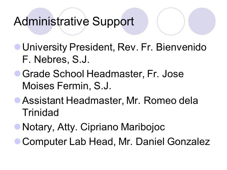 Administrative Support University President, Rev. Fr. Bienvenido F. Nebres, S.J. Grade School Headmaster, Fr. Jose Moises Fermin, S.J. Assistant Headm