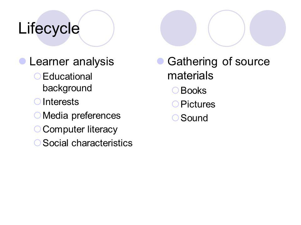 Lifecycle Learner analysis Educational background Interests Media preferences Computer literacy Social characteristics Gathering of source materials Books Pictures Sound