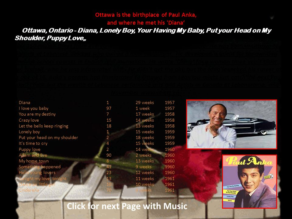 Paul Anka My Live My Songs Click for next Page