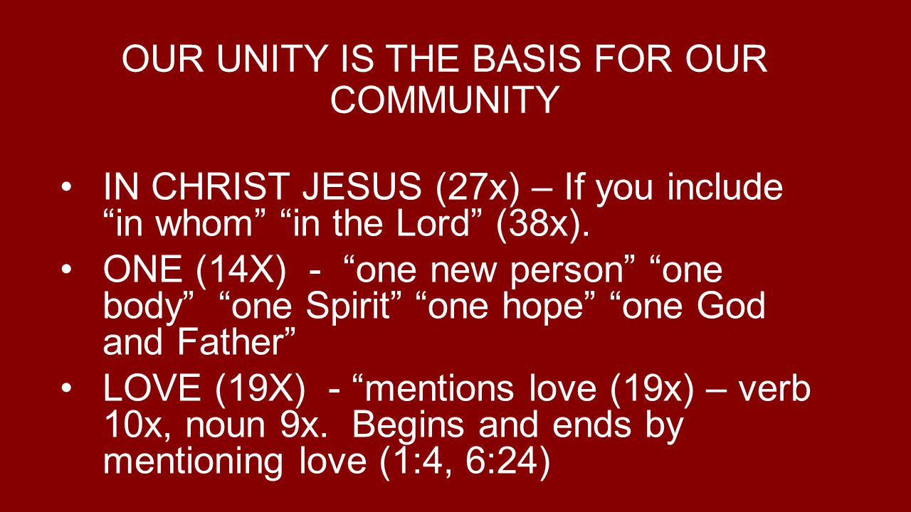 OUR UNITY IS THE BASIS FOR OUR COMMUNITY IN CHRIST JESUS (27x) – If you includein whom in the Lord (38x).
