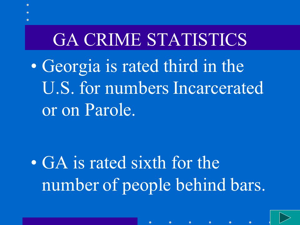 GA CRIME STATISTICS Georgia is rated third in the U.S. for numbers Incarcerated or on Parole. GA is rated sixth for the number of people behind bars.