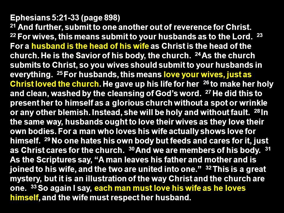 Ephesians 5:21-33 (page 898) 21 And further, submit to one another out of reverence for Christ.