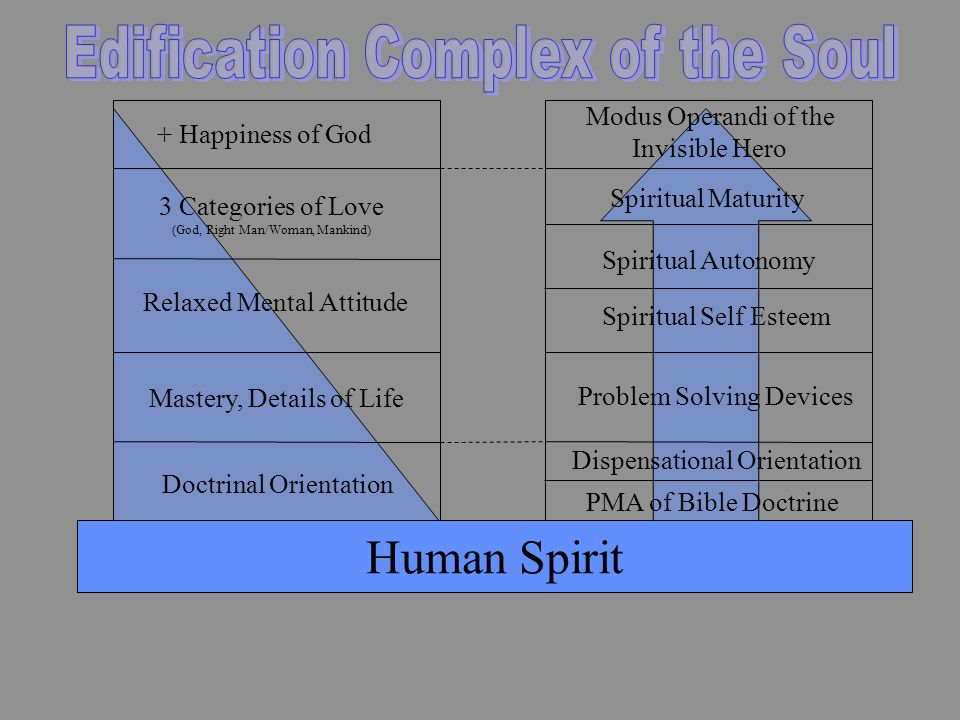 Human Spirit PMA of Bible Doctrine Dispensational Orientation Problem Solving Devices Spiritual Self Esteem Spiritual Autonomy Spiritual Maturity Modus Operandi of the Invisible Hero Doctrinal Orientation Mastery, Details of Life Relaxed Mental Attitude 3 Categories of Love (God, Right Man/Woman, Mankind) + Happiness of God