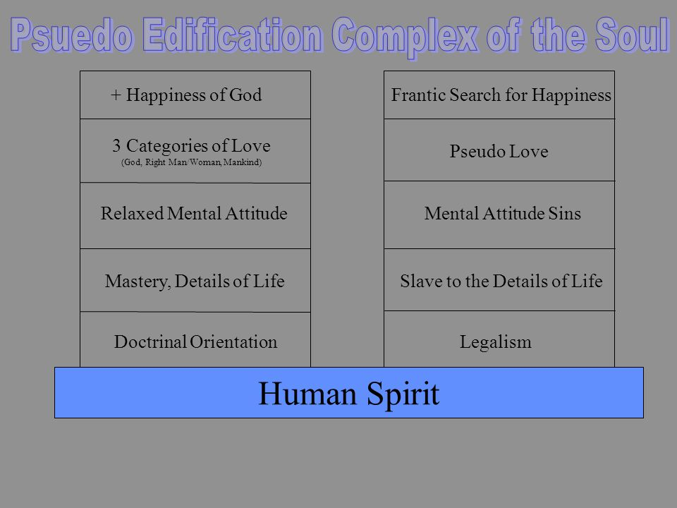Doctrinal Orientation Mastery, Details of Life Relaxed Mental Attitude 3 Categories of Love (God, Right Man/Woman, Mankind) + Happiness of God Human Spirit Legalism Slave to the Details of Life Mental Attitude Sins Pseudo Love Frantic Search for Happiness