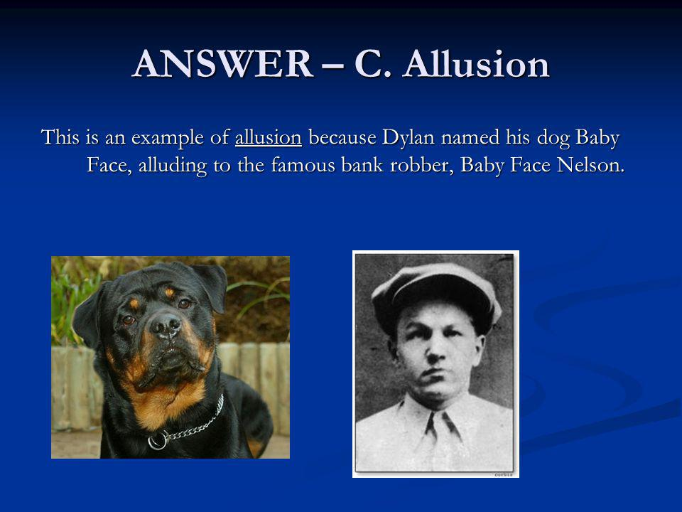 ANSWER – C. Allusion This is an example of allusion because Dylan named his dog Baby Face, alluding to the famous bank robber, Baby Face Nelson.