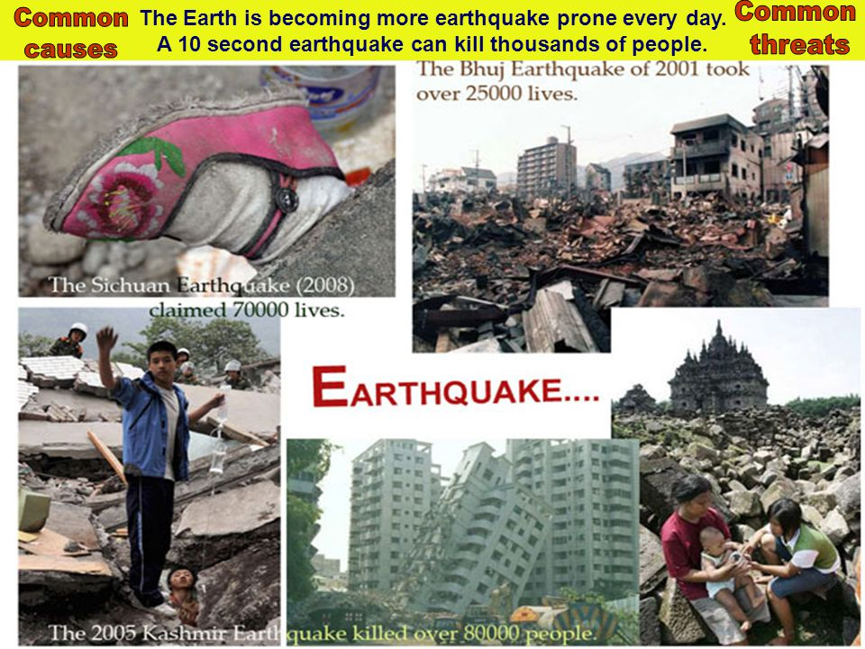 The Earth is becoming more earthquake prone every day. A 10 second earthquake can kill thousands of people.