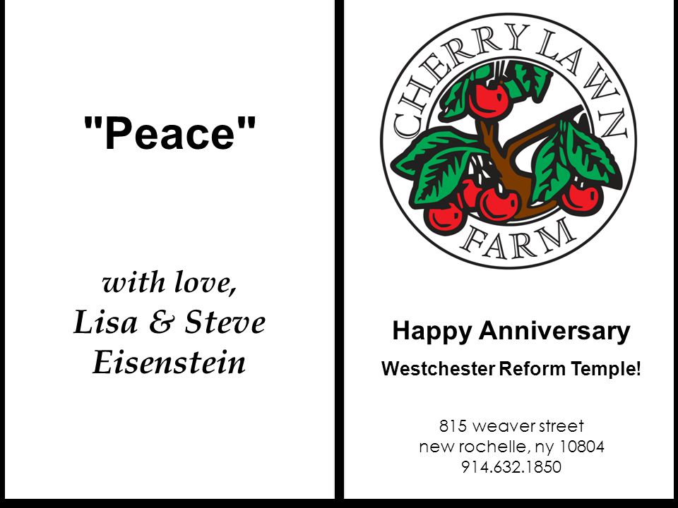 Congratulations to WRT on this milestone.Happy Anniversary Westchester Reform Temple.